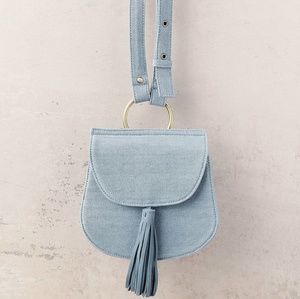 Light Blue Suede Leather and Denim Purse